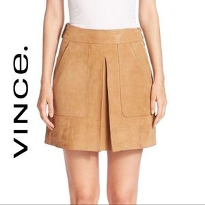 VINCE suede leather inverted pleat mini skirt, 2